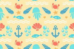 彩色海洋元素无缝背景矢量素材