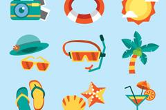 9款彩色沙滩度假图标矢量素材
