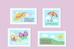 6款彩色春季邮票矢量素材