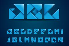 26个蓝色折纸大写字母矢量素材