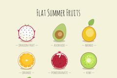 9款扁平化水果切面矢量素材
