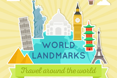 6个世界著名地标建筑和飞机热气球矢量亚虎国际