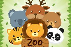 6个卡通动物园动物头像矢量素材