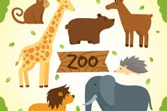 7款卡通动物园动物矢量素材