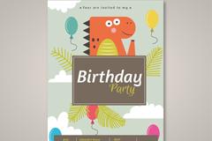 卡通恐龙生日派对邀请卡矢量图