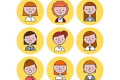 9款商务女子笑脸头像矢量素材