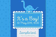 蓝色恐龙迎婴派对邀请卡矢量素材