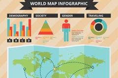 创意世界地图信息图矢量素材