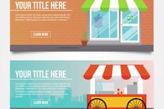2款创意商铺和可移动餐车banner矢量图