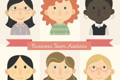 6款商务团队女子头像矢量图