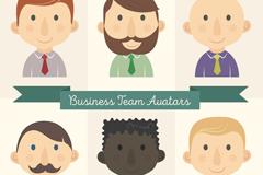 6款商务团队人物男生头像矢量图