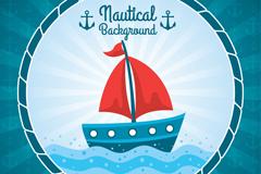 海上的红色帆船插画矢量素材
