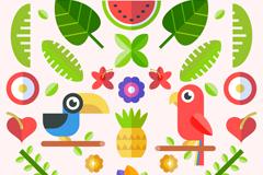 扁平化热带鹦鹉和植物矢量图