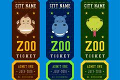 猴子河马蛇3款动物园门票矢量素材