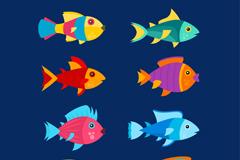 8款创意彩色鱼类设计矢量素材