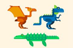 4款抽象恐龙设计矢量素材