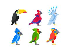 9款卡通鸟类侧面矢量素材