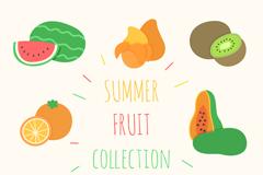 8款常见彩色夏季水果矢量素材