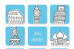 8款创意世界地标建筑插画矢量素材