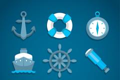 9款蓝色精致航海图标矢量素材