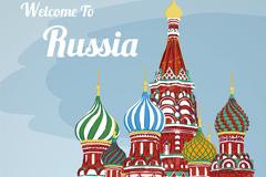 彩绘莫斯科圣瓦西里大教堂矢量素材