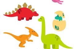 5款彩色恐龙和恐龙蛋矢量素材