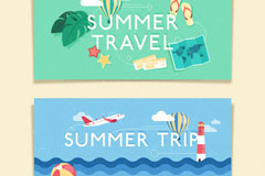 2款夏季旅游banner设计矢量素材