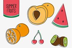 7款彩绘夏季水果矢量素材