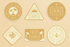 6款复古夏季标签矢量素材