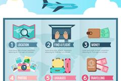 创意旅行度假6区块信息图矢量素材