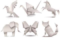 9款白色折纸设计矢量素材