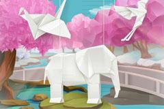 5款创意折纸动物插画矢量素材
