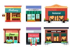 9款彩色商铺设计矢量素材