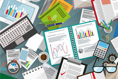 铺满文件和文具的办公桌矢量素材