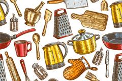 彩绘厨房用品无缝背景矢量素材