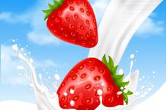 加入新鲜草莓的牛奶矢量图