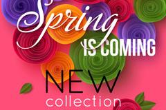 彩色春季纸花卉矢量素材