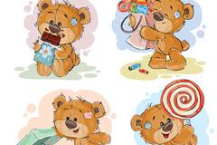 4款可爱泰迪熊设计矢量素材