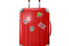 精美红色行李箱矢量素材