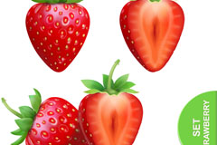 3款新鲜红草莓和切面矢量素材