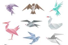 11款彩色折纸鸟类矢量素材