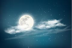 云层间的月亮和星空矢量素材