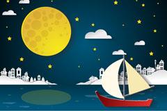 夜晚中航行的帆船剪贴画矢量优发娱乐