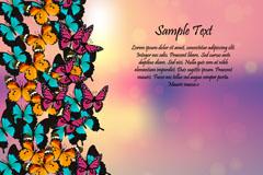 缤纷彩色蝴蝶边框矢量素材