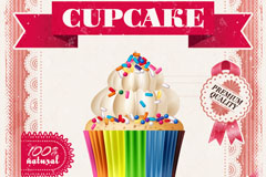 彩色纸杯蛋糕蕾丝边海报矢量素材