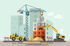 扁平化建筑施工插画矢量优发娱乐