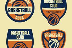 4款复古篮球俱乐部徽章矢量素材