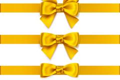 3款金黄色蝴蝶结丝带矢量素材