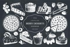 11款创意浆果甜点蛋糕矢量素材
