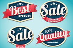 4款深蓝色优质促销商品标签矢量素材